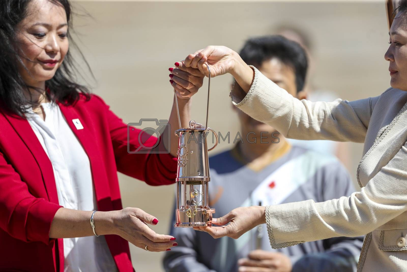 Athens, Greece - March 19, 2020: Olympic Flame handover ceremony for the Tokyo 2020 Summer Olympic Games at the Panathenaic Kallimarmaro Stadium