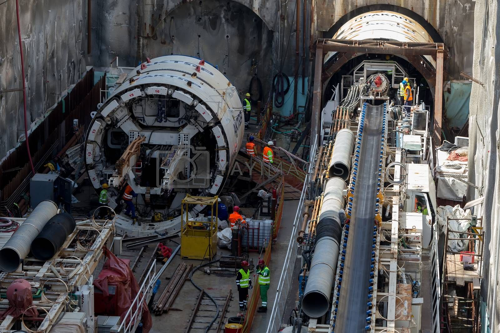 Thessaloniki, Greece - March 28, 2016: Tunnel Boring Machines at construction site of metro in Thessaloniki going back to work after four years