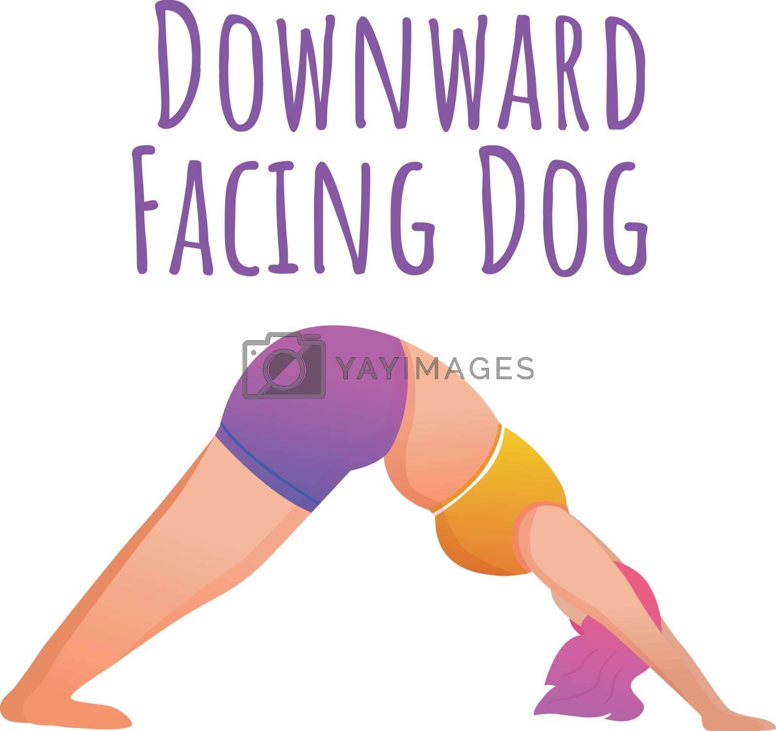Downward facing dog pose social media post mockup. Adho Mukha Shvanasana. Yoga. Web banner design template. Social media booster, content layout. Poster, printable card with flat illustrations by ntl