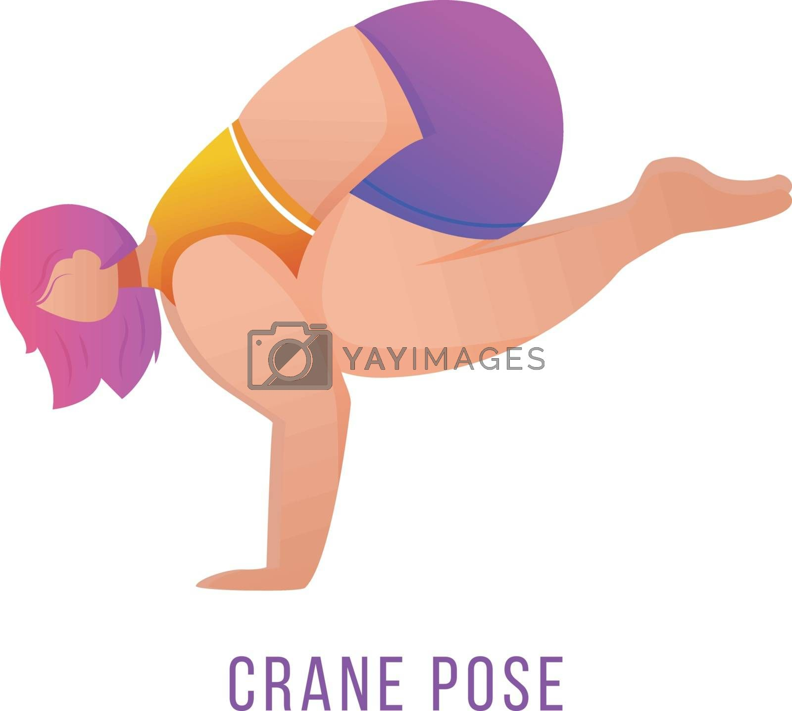 Crane pose flat vector illustration. Bakasana posture. Caucausian woman doing yoga in orange and purple sportswear. Workout, fitness. Physical exercise. Isolated cartoon character on white background by ntl