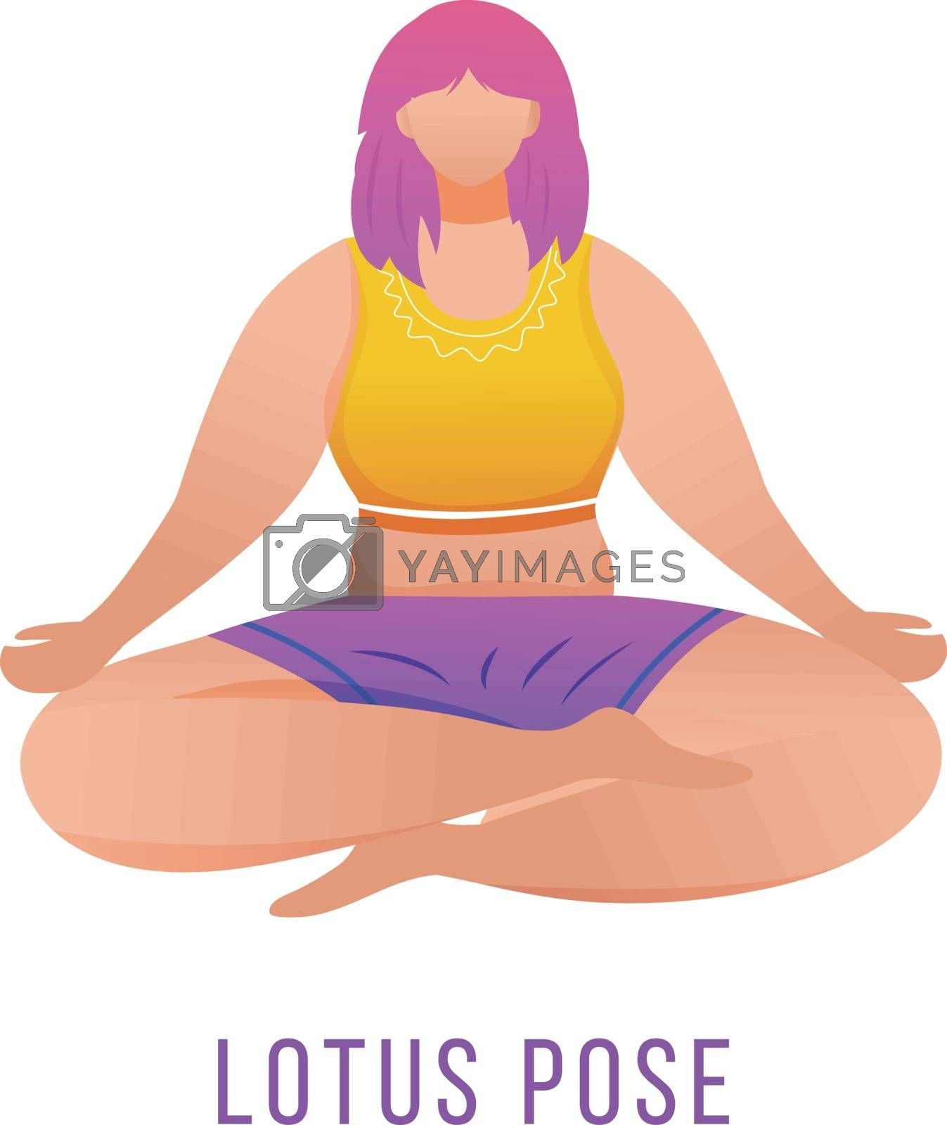 Lotus pose flat vector illustration. Padmasana. Caucausian woman doing yoga in orange and purple sportswear. Workout, fitness. Physical exercise. Isolated cartoon character on white background