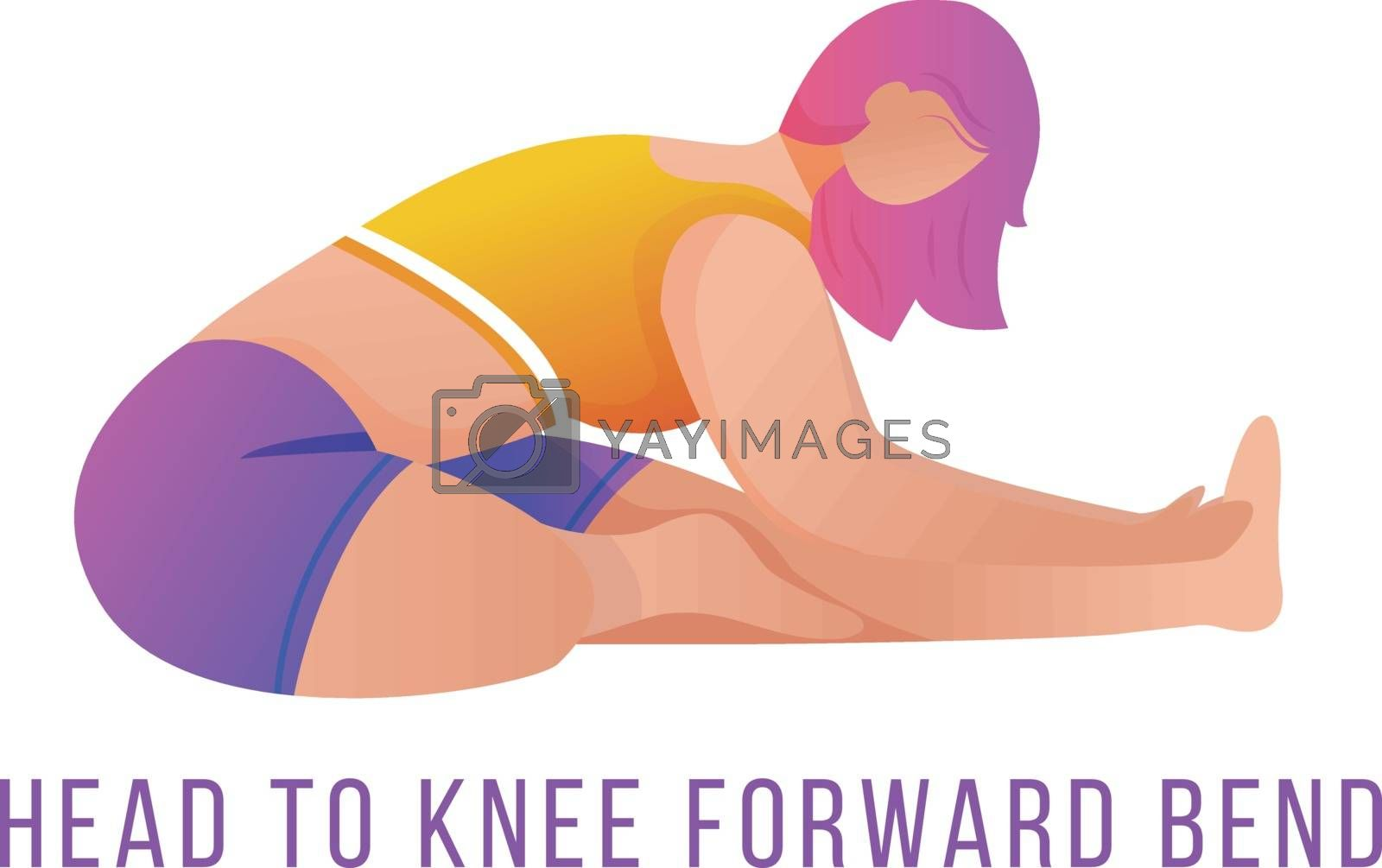 Head to knee forward bend flat vector illustration. Janu Sirsasana. Caucausian woman doing yoga in orange and purple sportswear. Workout, fitness. Isolated cartoon character on white background by ntl