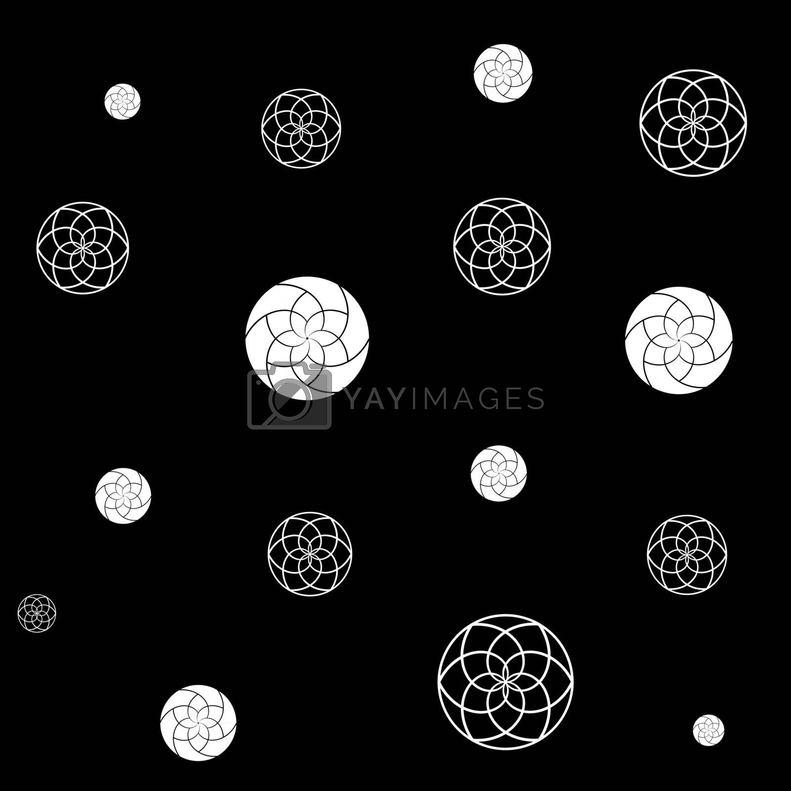 Circles geometric pattern with white abstract flowers on black background