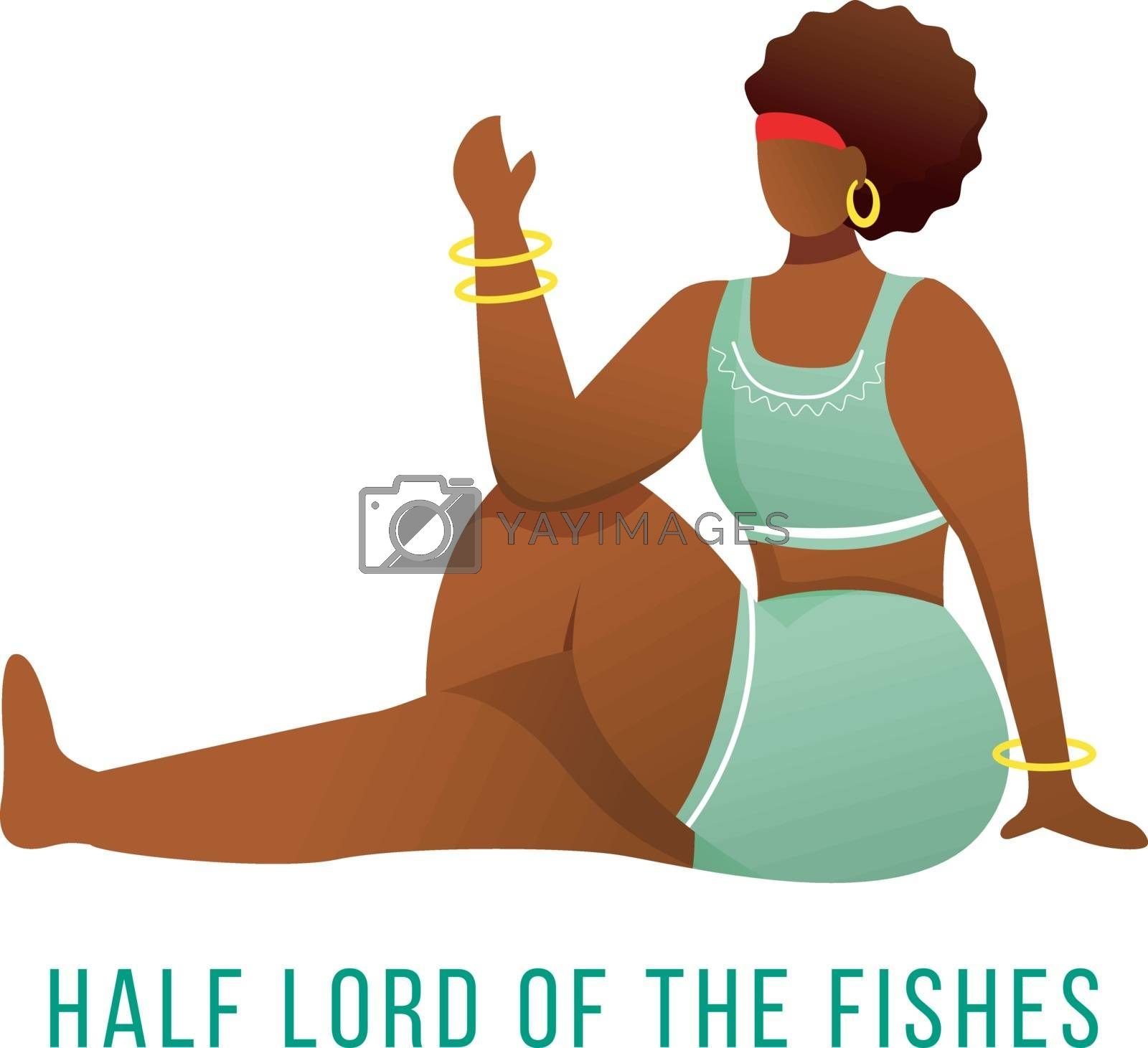 Half lord of fishes pose flat vector illustration. Ardha Matsyendrasana. African American, dark-skinned woman performing yoga posture. Workout, fitness. Isolated cartoon character on white background