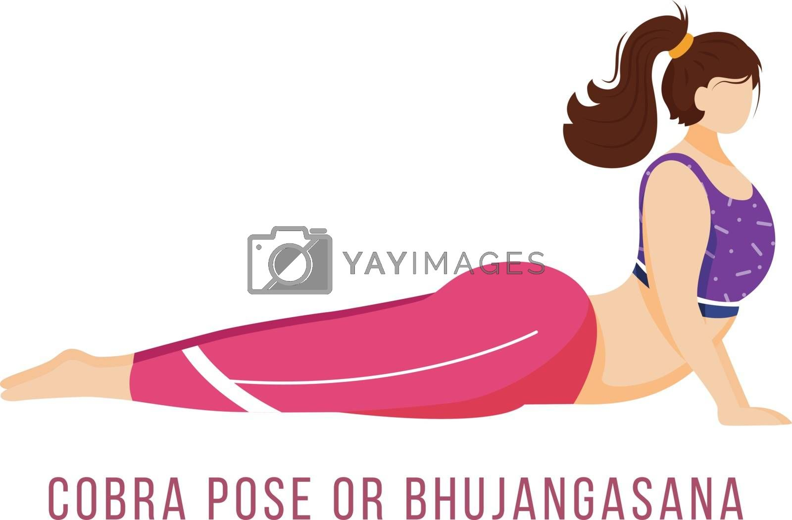 Cobra pose flat vector illustration. Bhujangasana. Caucausian woman performing yoga posture in pink and purple sportswear. Workout. Physical exercise. Isolated cartoon character on white background by ntl