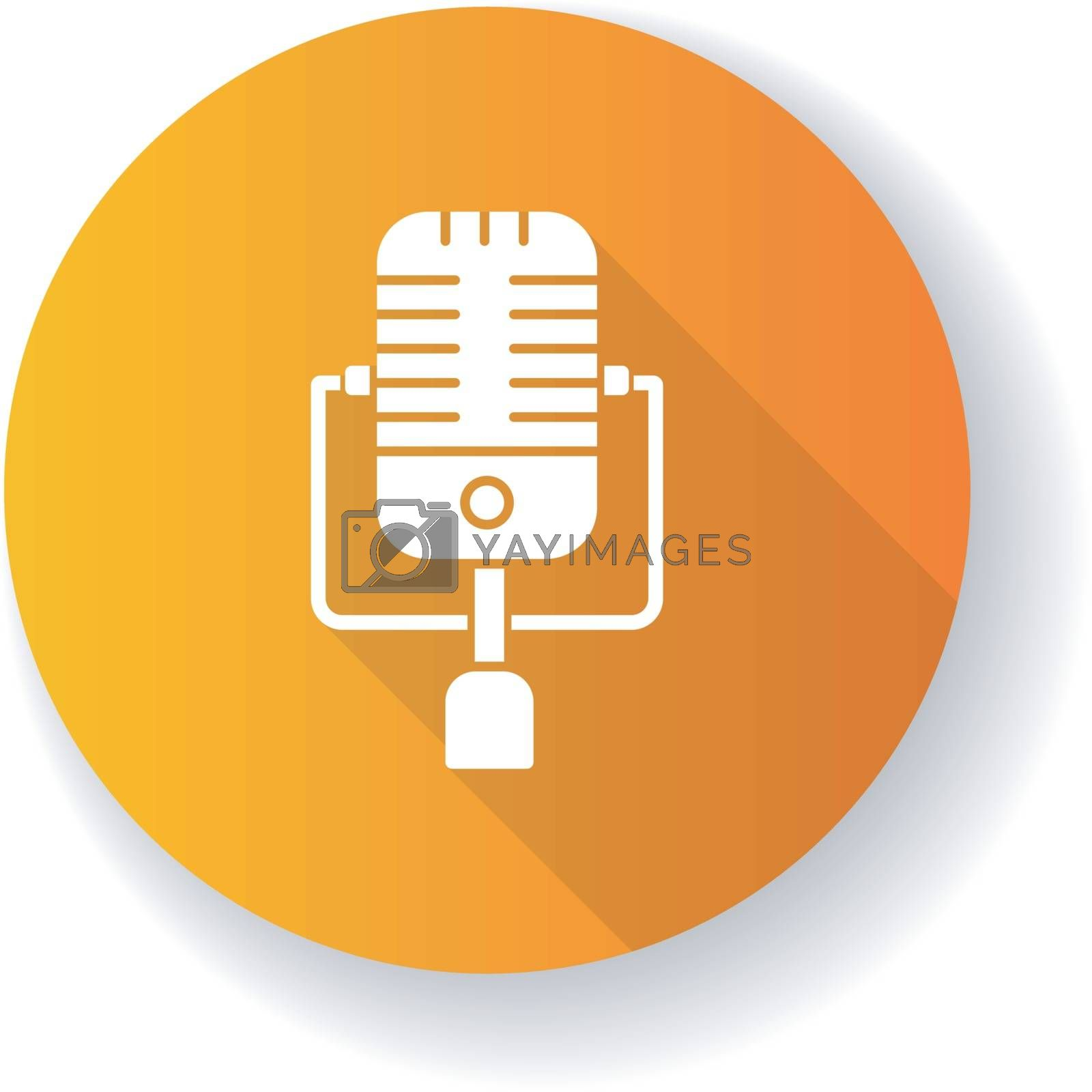 Vintage orange microphone flat design long shadow glyph icon. Mic to perform live on stage. Musical concert. Announcement on radio. Karaoke and entertainment. Silhouette RGB color illustration