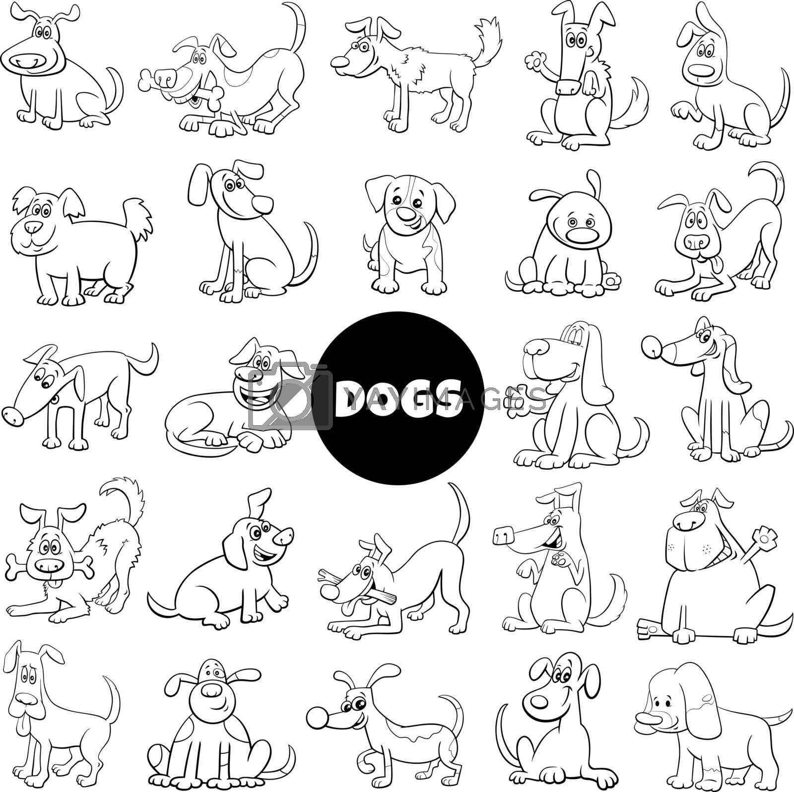 Black and White Cartoon Illustration of Dogs and Puppies Pet Animal Characters Big Set
