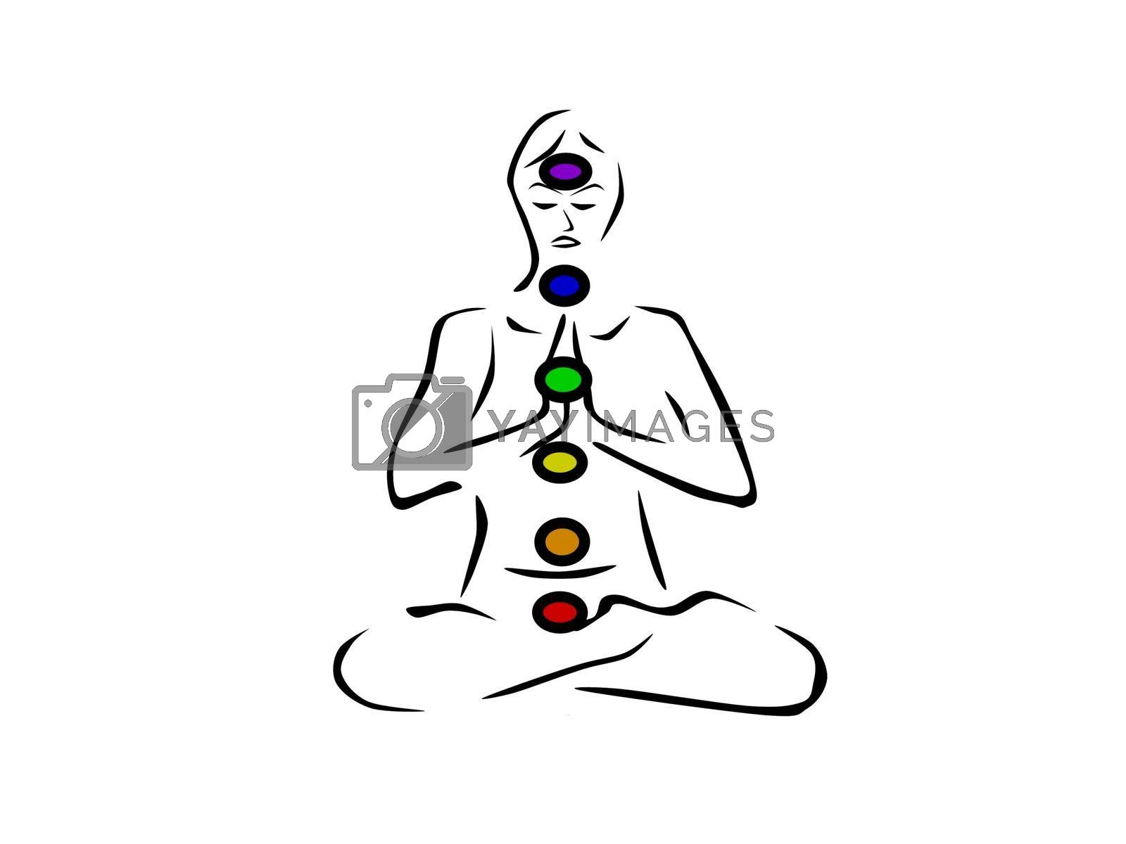 person in yoga position with colors chakra colors - 3d rendering