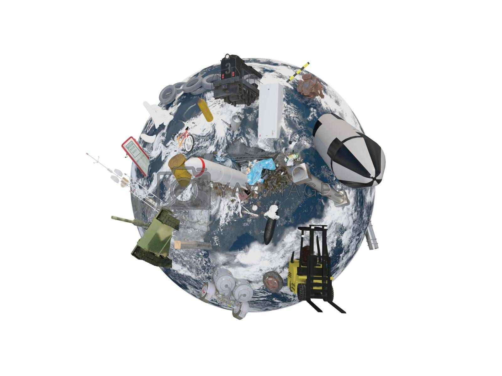 round earth black pollution war on white background - 3d rendering