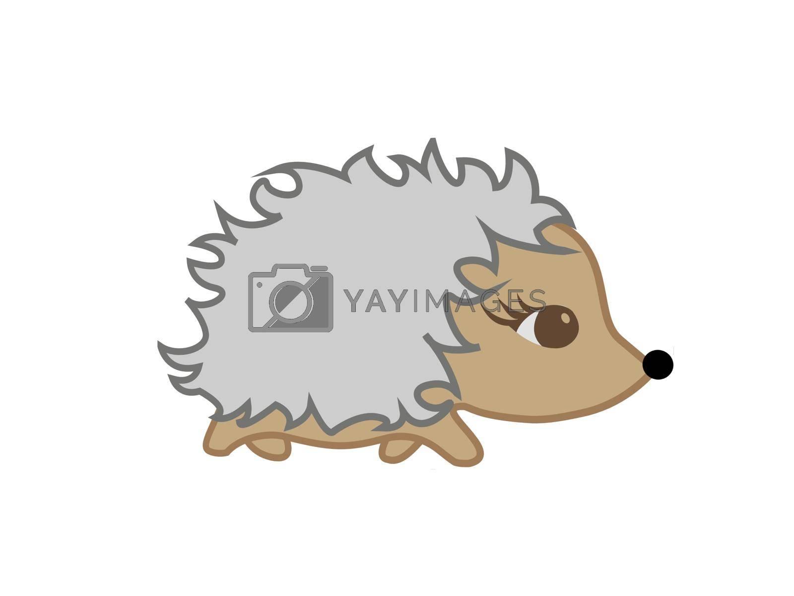 very cute brown hedgehog on white background - 3d rendering