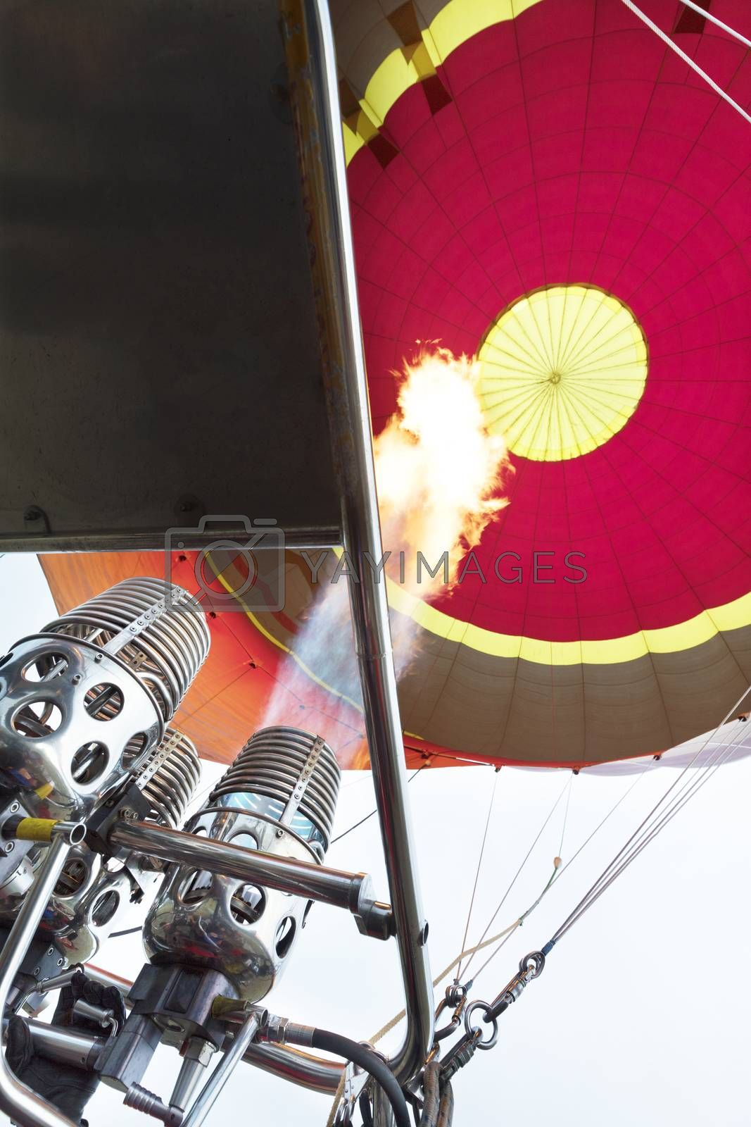 The balloon is blown inflate with fire from the torch, a long flame tongue.