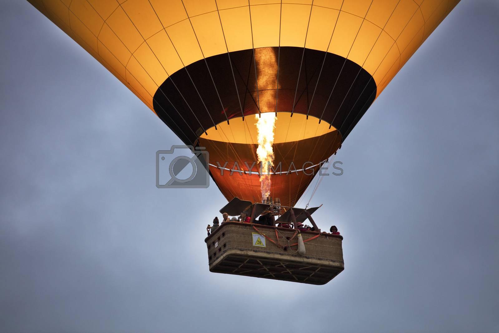 Flight of a balloon in the blue sky, view of the basket overhead. Cappadocia. 12.05.2018. Turkey.