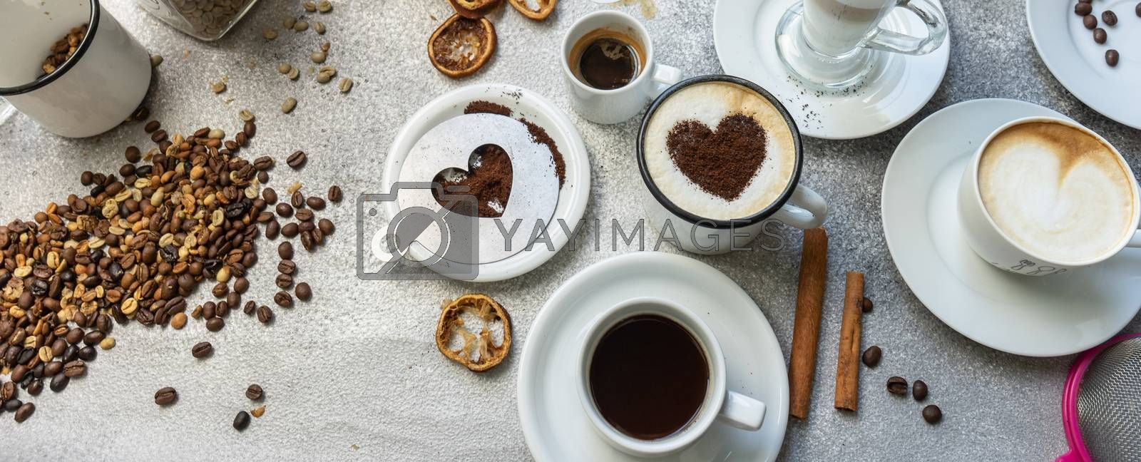 Coffee drink varieties concept on stone background with copy space
