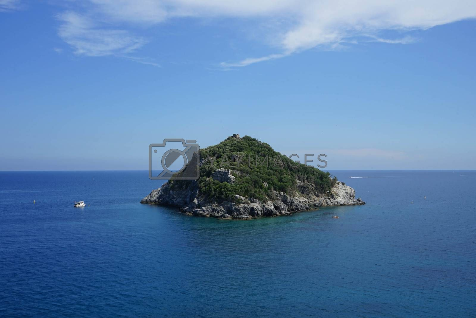 View of the island of Bergeggi in Liguria - Italy
