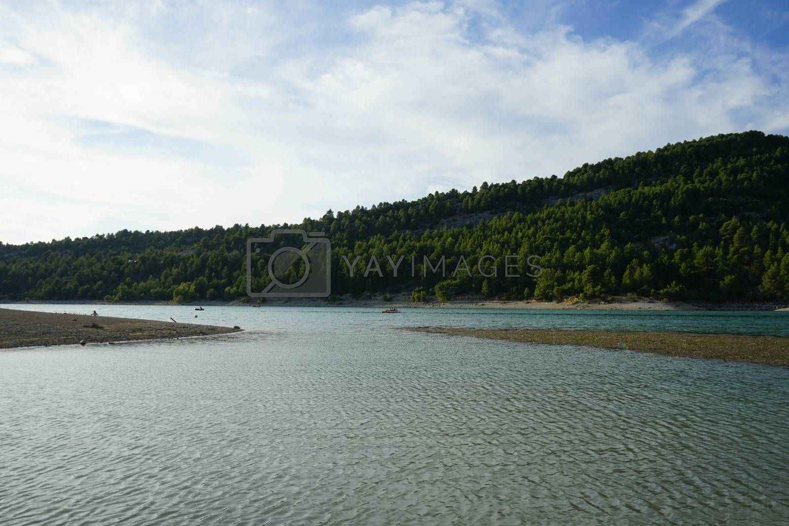Overview of the reservoir that form the Sainte-Croix lake between the Verdon gorges, France