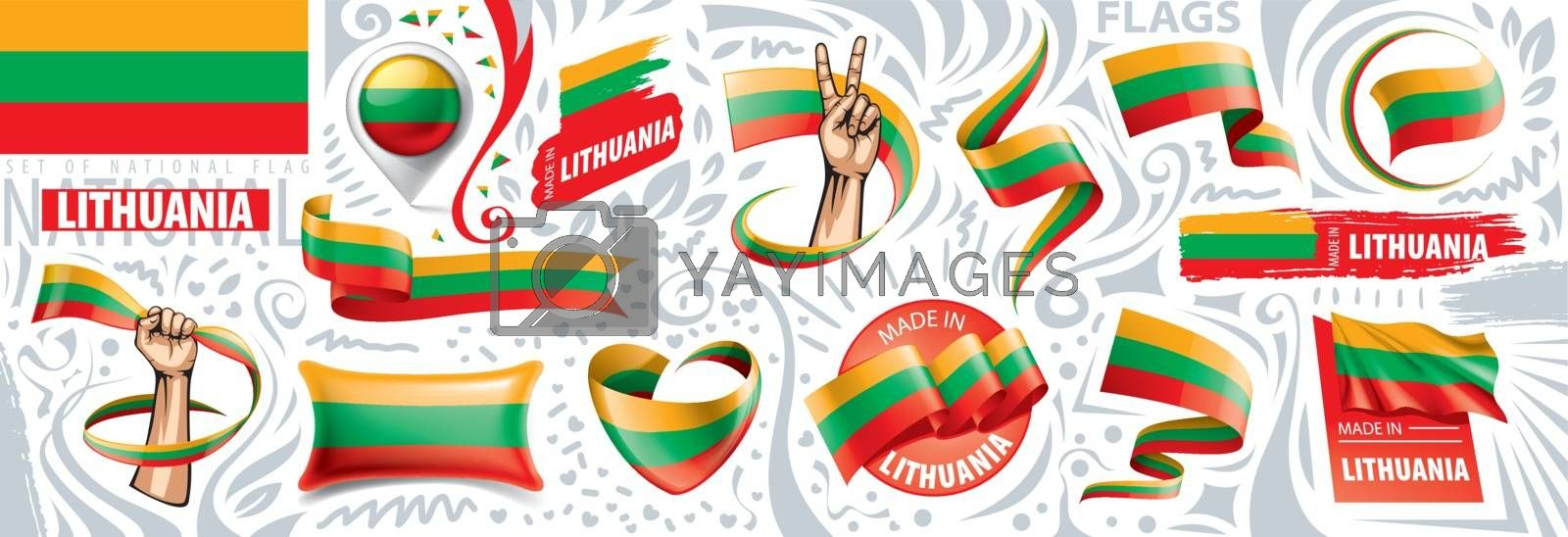 Vector set of the national flag of Lithuania in various creative designs.