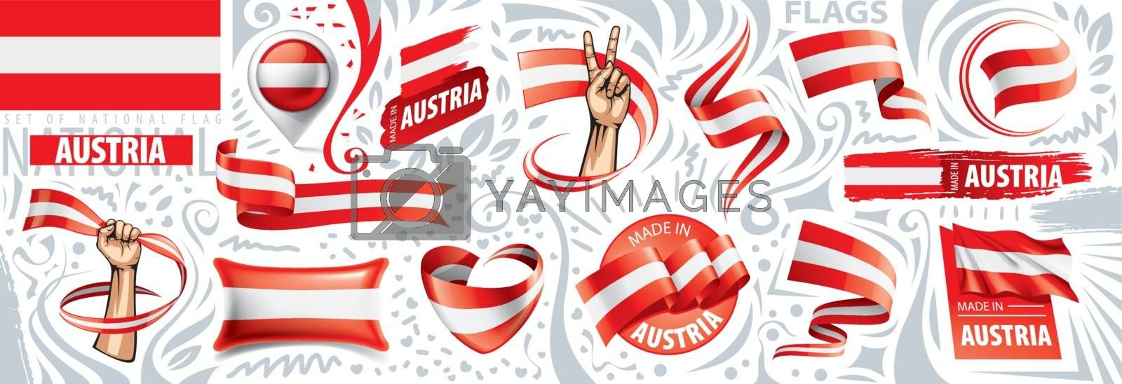 Vector set of the national flag of Austria in various creative designs.