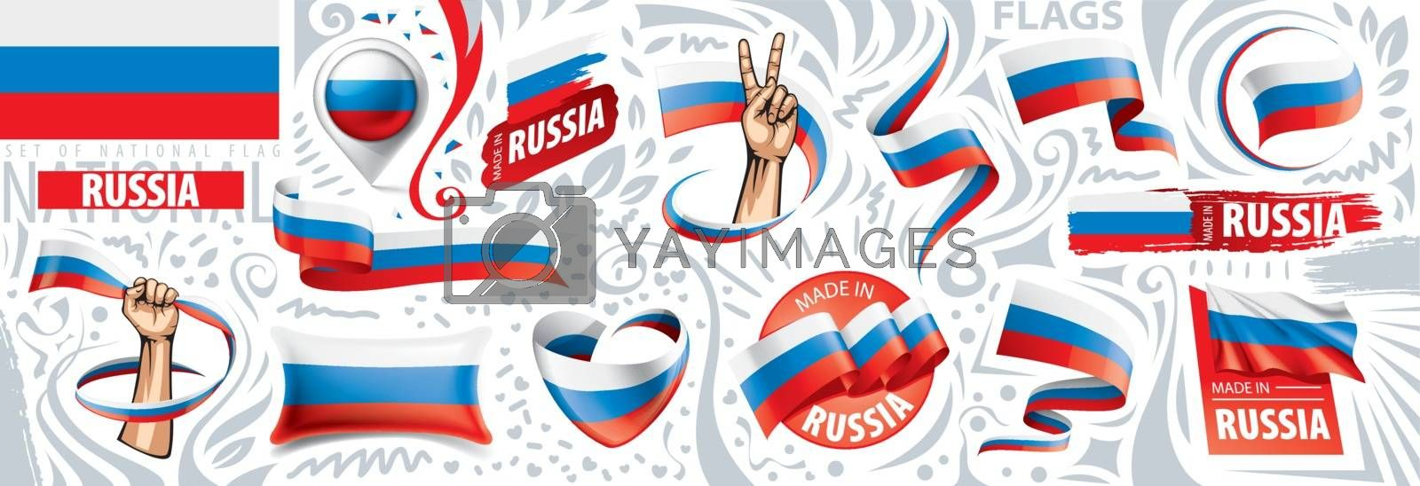 Vector set of the national flag of Russia in various creative designs.