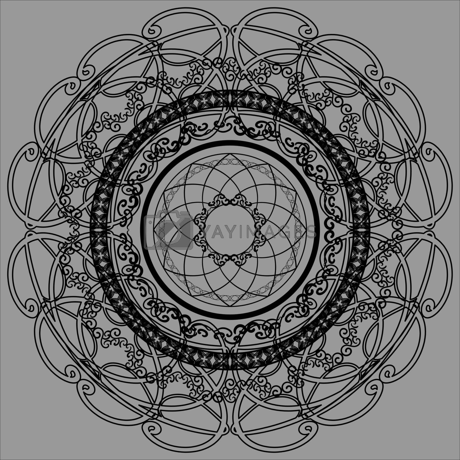 Black lace mandala on grey background by paranoido