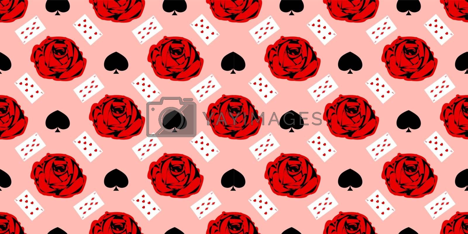 playing cards seamless pattern. Red rose on a pink background.