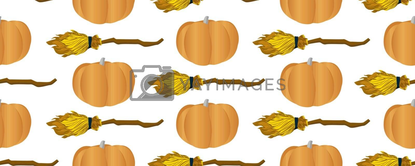 Shameless vector pattern for teenage textiles. Ideal for the design of notebooks, wrapping paper, fabric. Pumpkins and broom for flying.