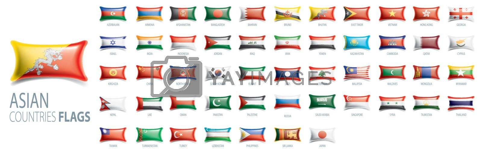 National flags of Asian countries. Vector illustrations.
