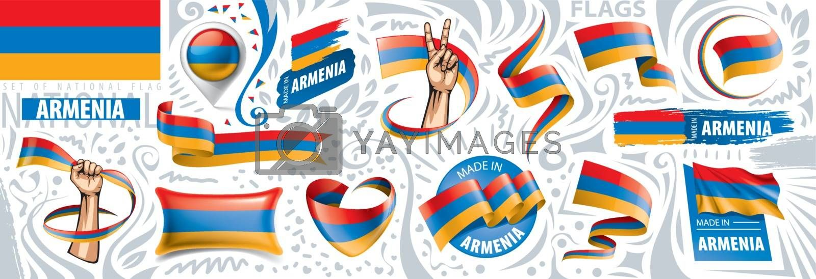 Vector set of the national flag of Armenia in various creative designs.