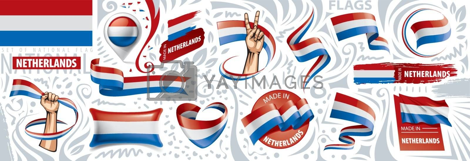 Vector set of the national flag of Netherlands in various creative designs.