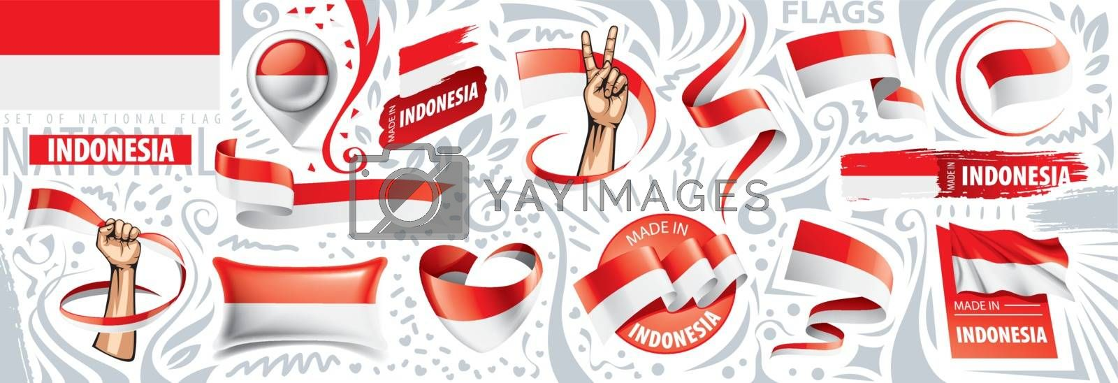 Vector set of the national flag of Indonesia in various creative designs by Butenkov