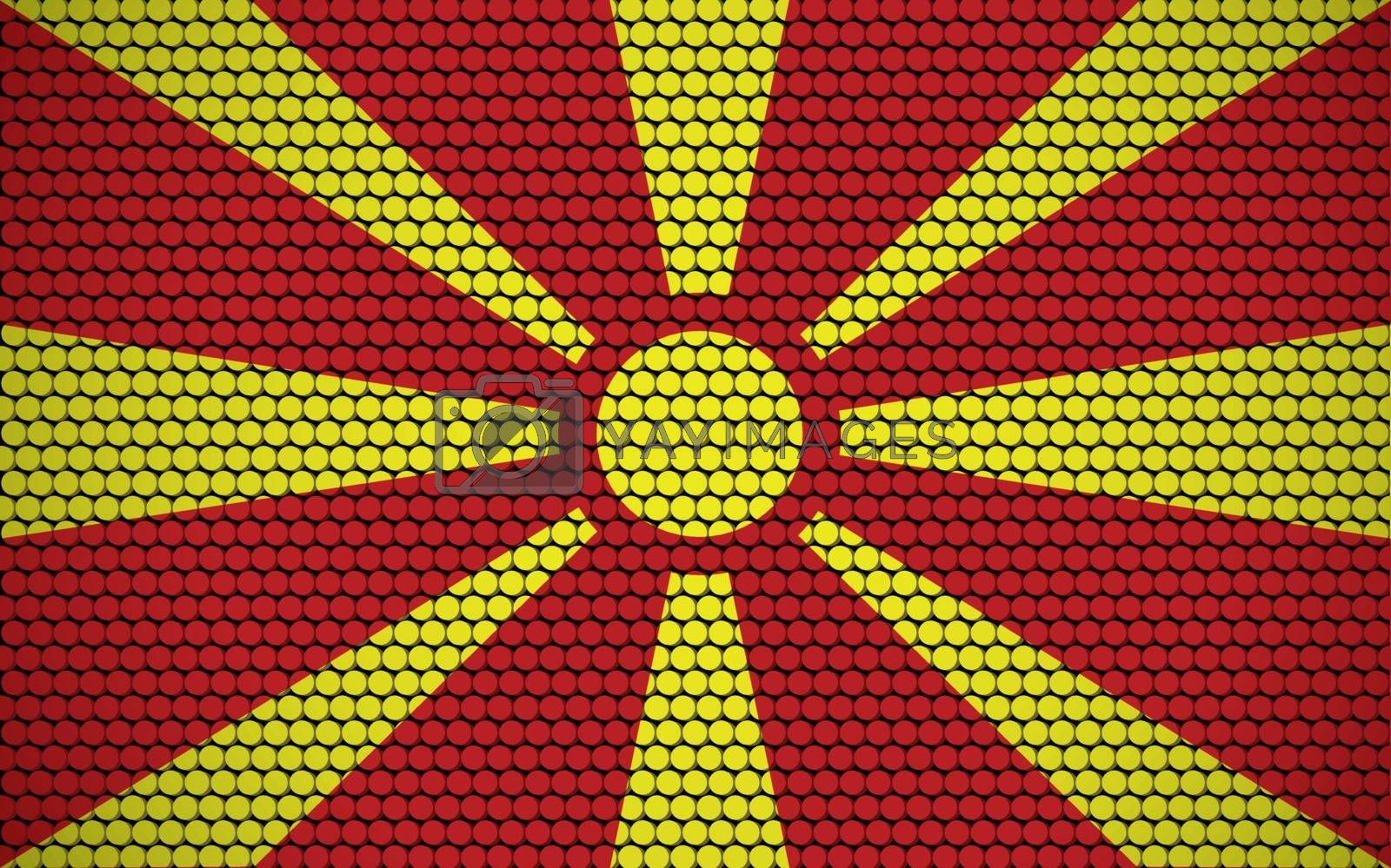 Abstract flag of Macedonia made of circles. Macedonian flag designed with colored dots giving it a modern and futuristic abstract look.