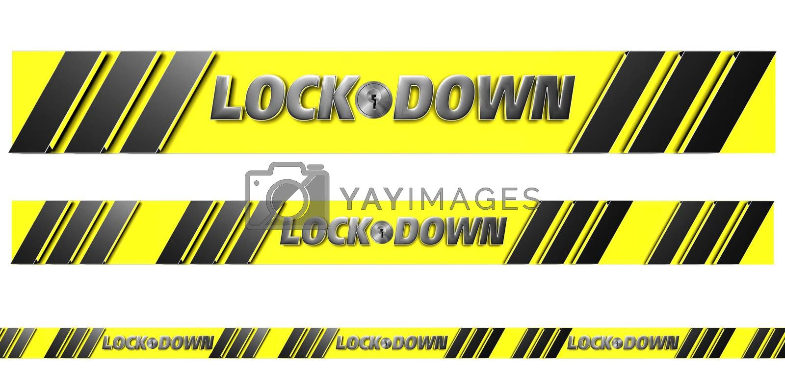No entry area strip Is a 3D illustration lockdown area isolated on a white background. (With Clipping Path).