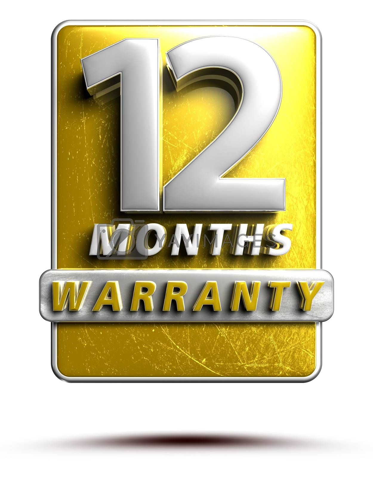 Warranty label 3D illustration 12 months Gold Color Numbers in stainless steel Isolated on a white background. (With Clipping Path).