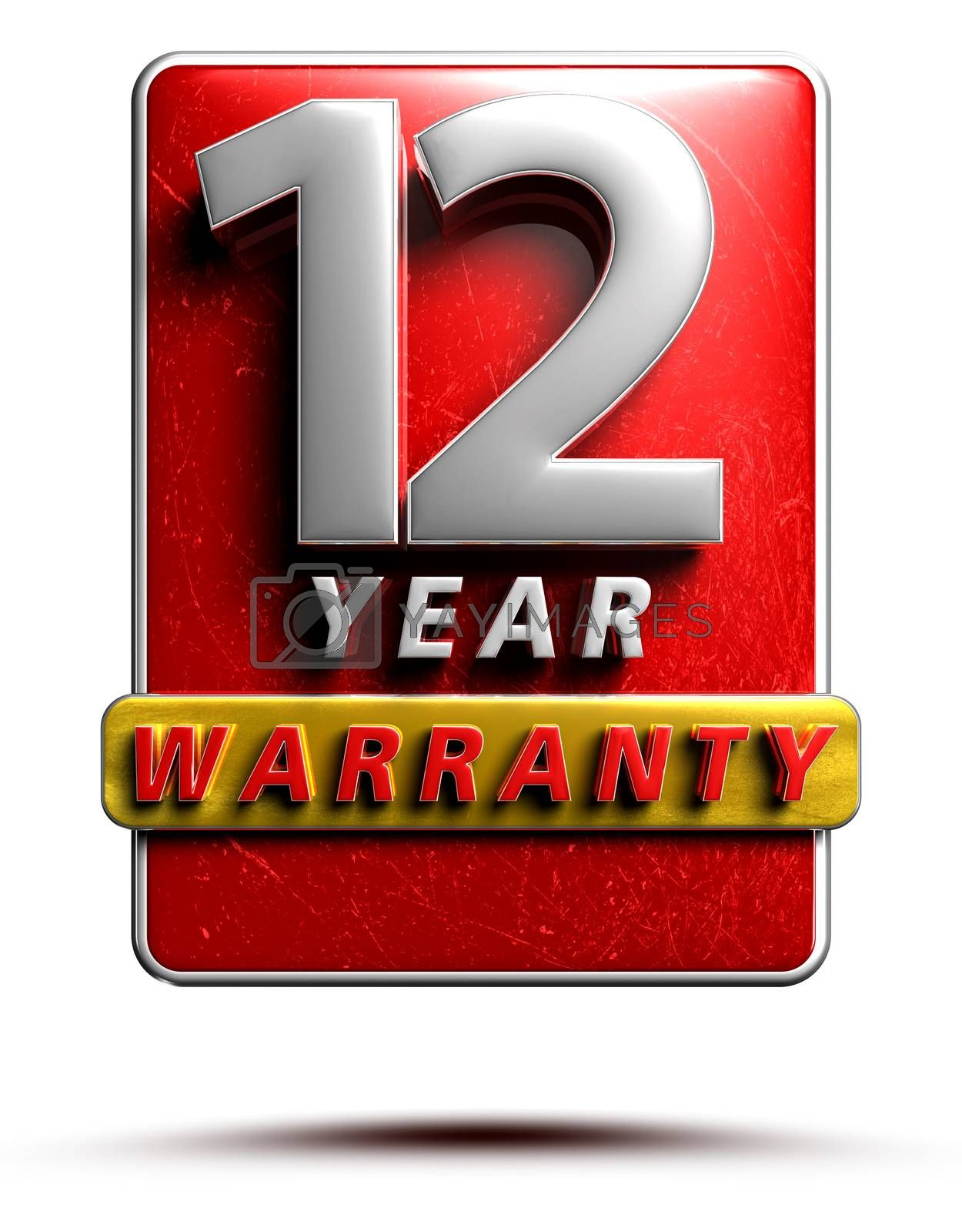 Warranty label 3D illustration 12 years Red Color Numbers in stainless steel Isolated on a white background. (With Clipping Path).