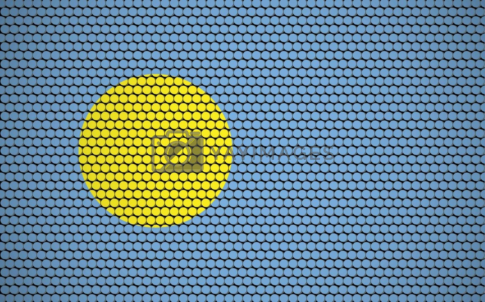 Abstract flag of Palau made of circles. Palauan flag designed with colored dots giving it a modern and futuristic abstract look.