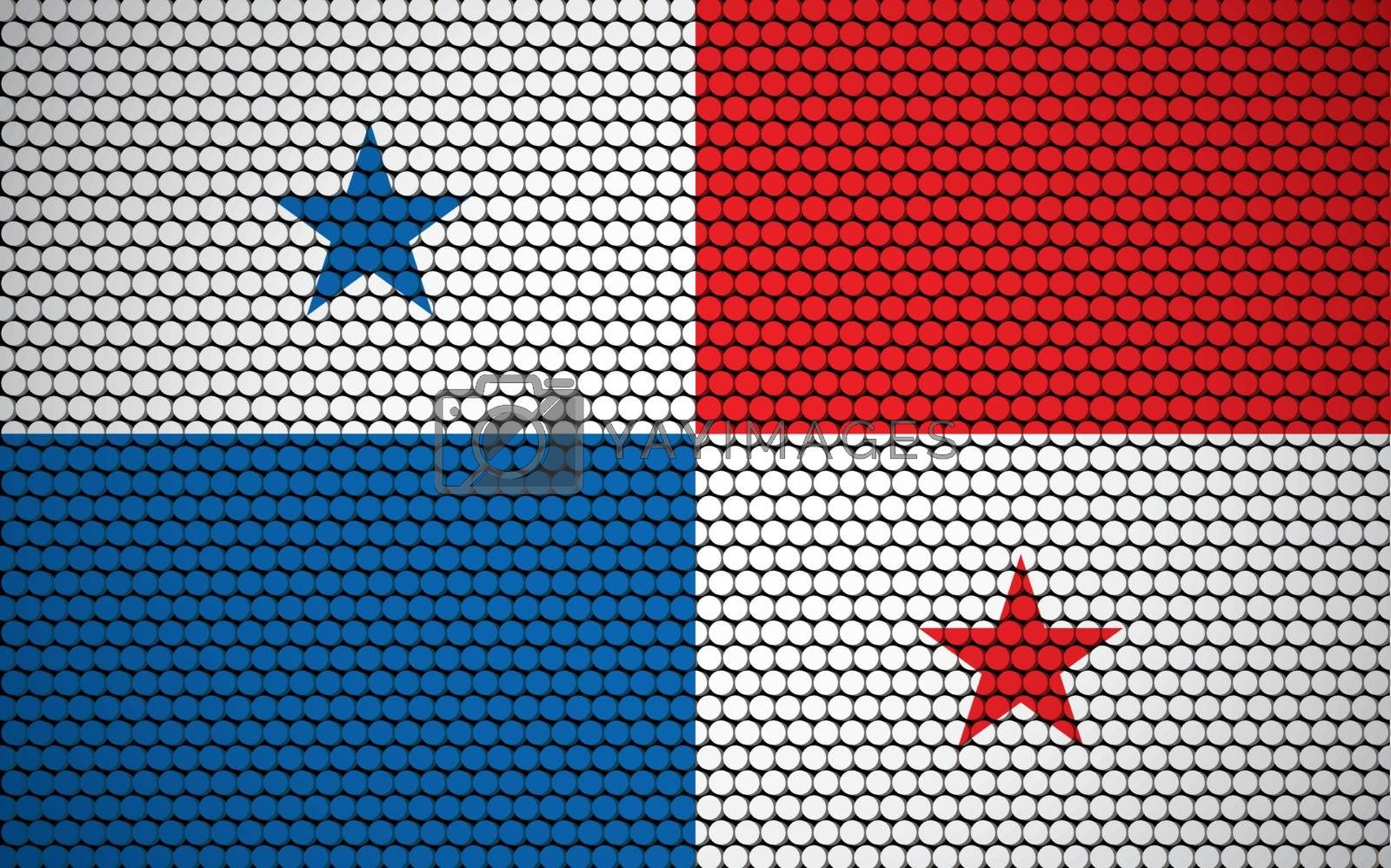 Abstract flag of Panama made of circles. Panamanian flag designed with colored dots giving it a modern and futuristic abstract look.