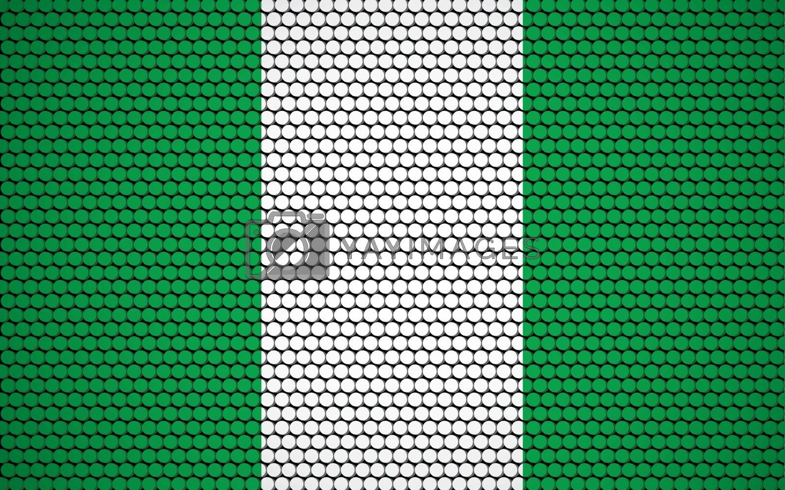 Abstract flag of Nigeria made of circles. Nigerian flag designed with colored dots giving it a modern and futuristic abstract look.