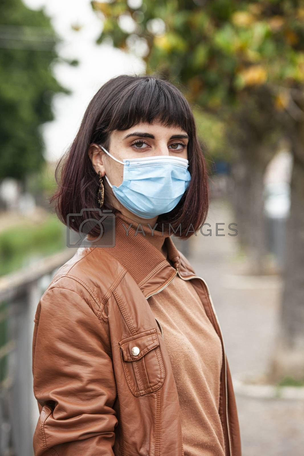 Girl with medical mask outdoor 10 by Filippo Carlot