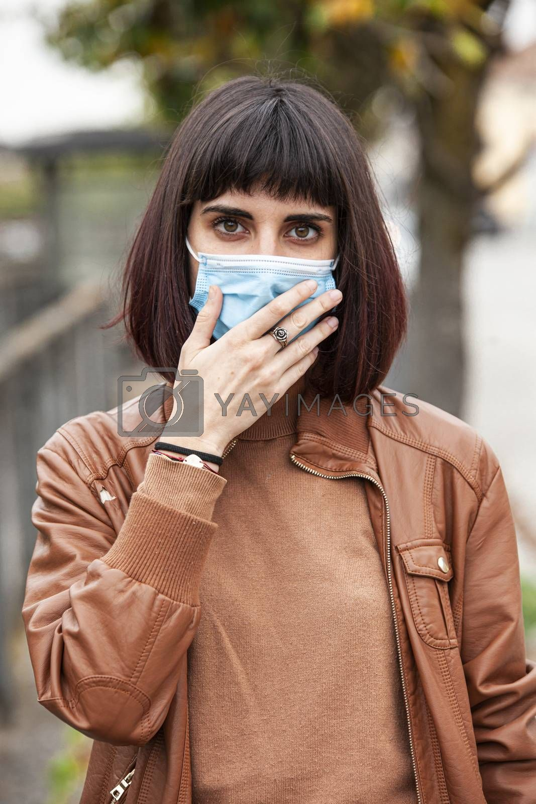 Girl with medical mask outdoor 9 by Filippo Carlot