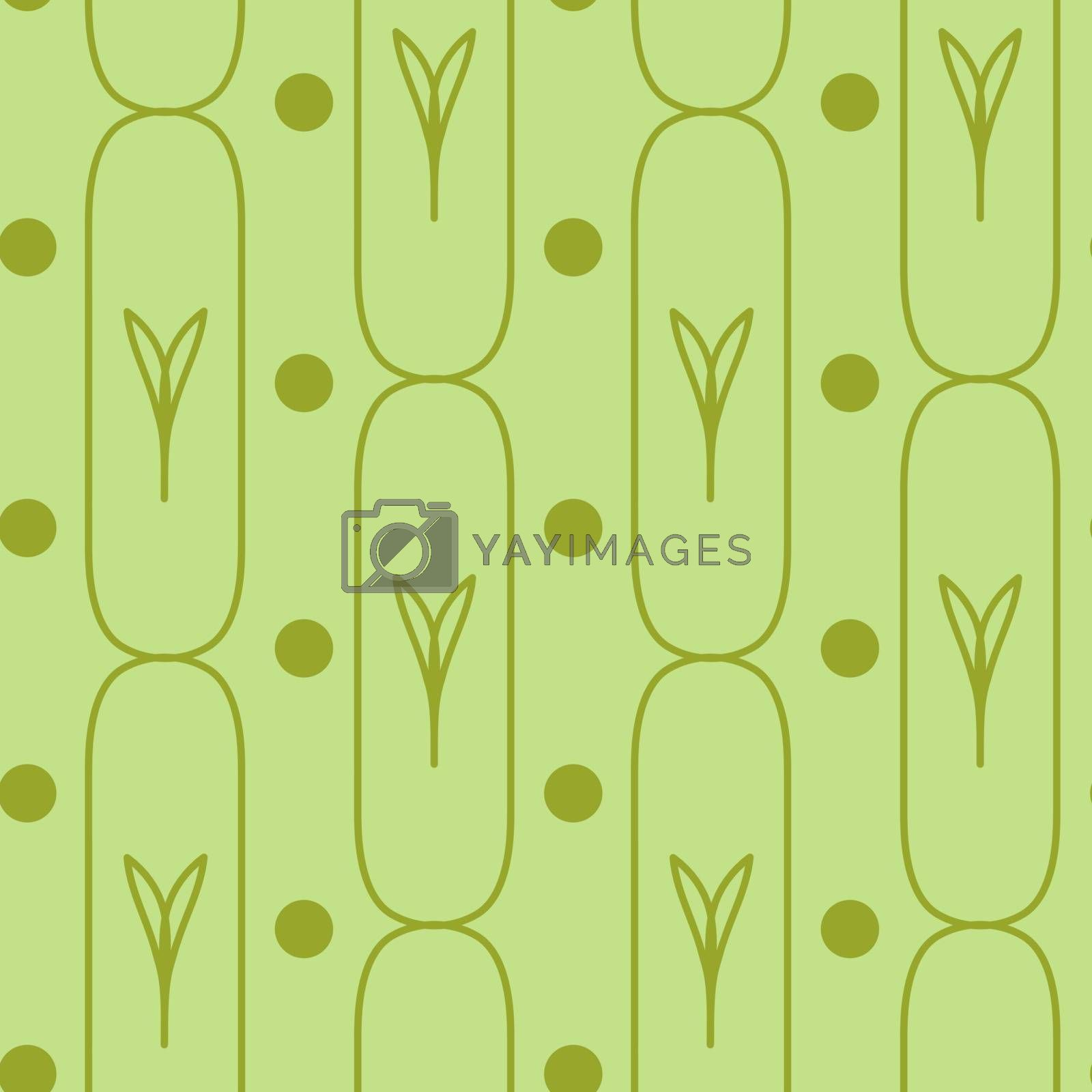 cute green seamless pattern with outline leaves in the oval rectangles and circles