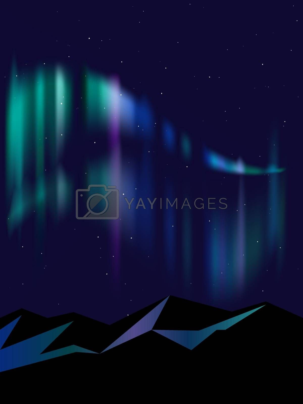 colorful gradient northern lights or aurora borealis and snowy mountains