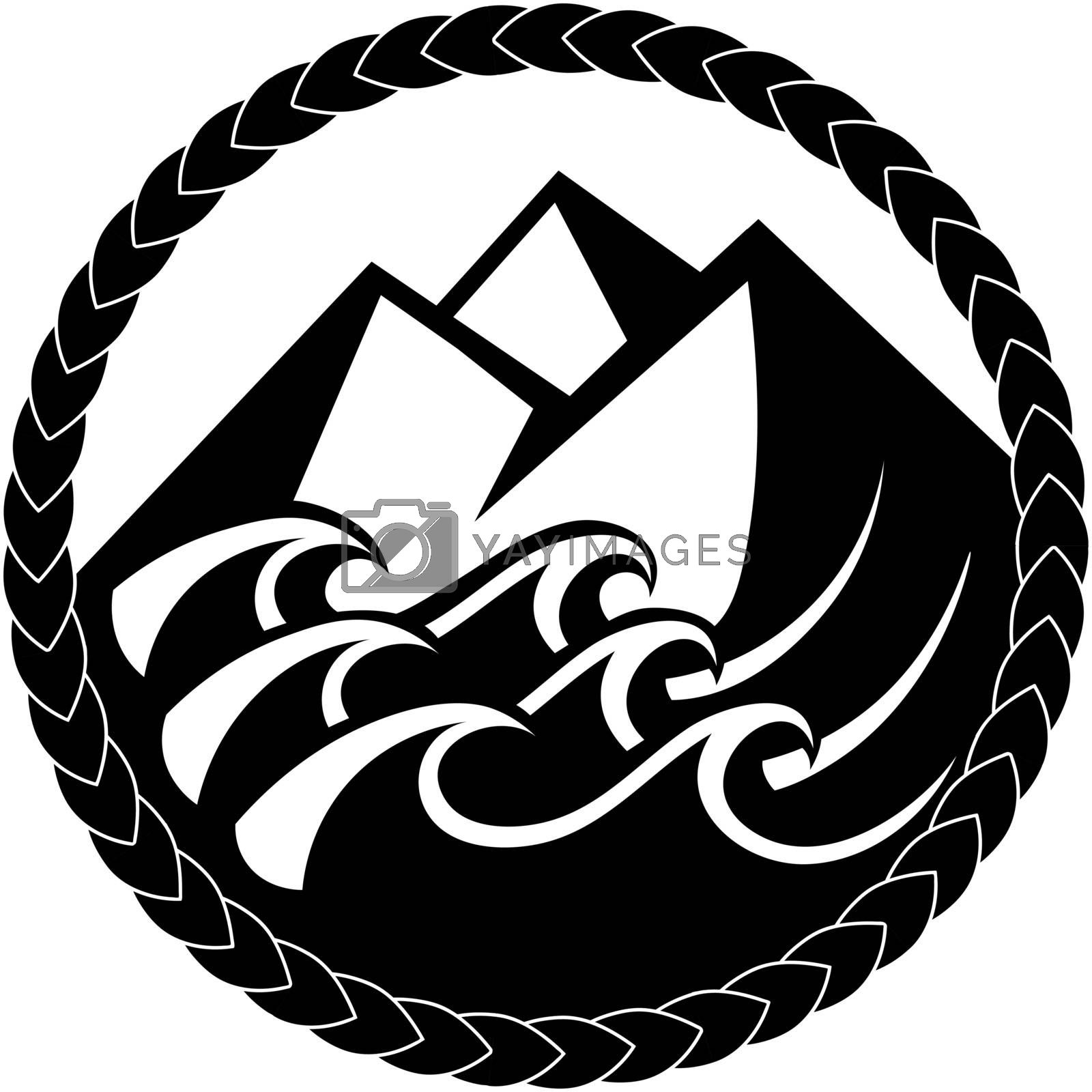 black and white icon in celtic or scandinavian tribal style with mountains and sea waves in knotted frame