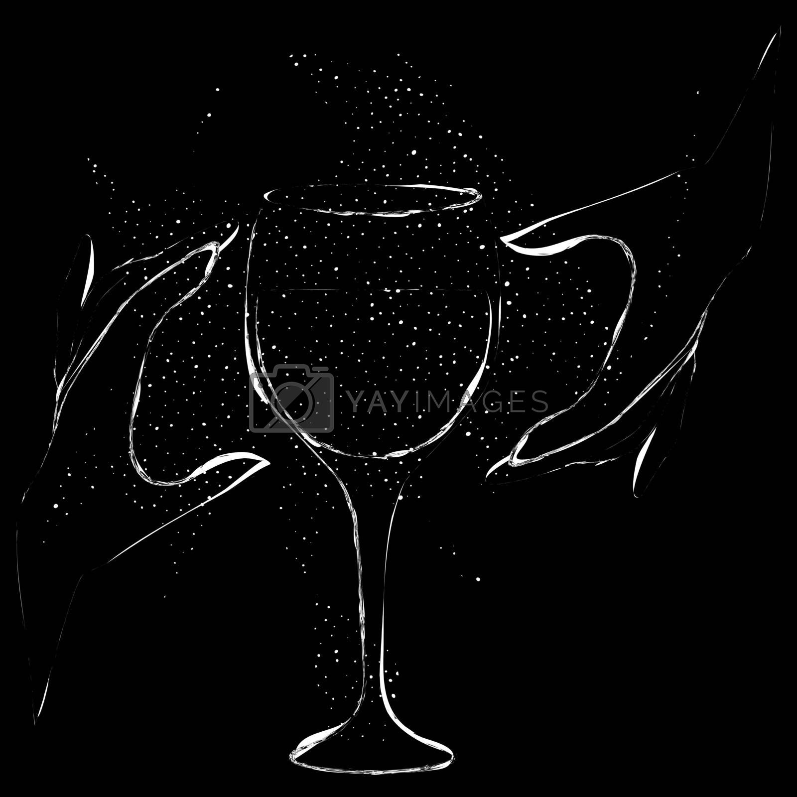 occult grunge illustration with two white contour hands and drinking glass on black backgroud