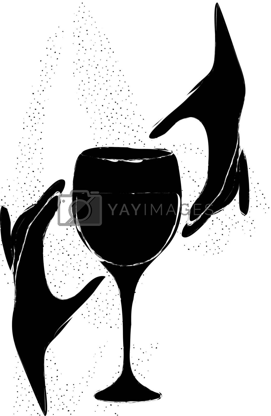 occult grunge illustration with two black silhouettes of hands and drinking glass on white backgroud