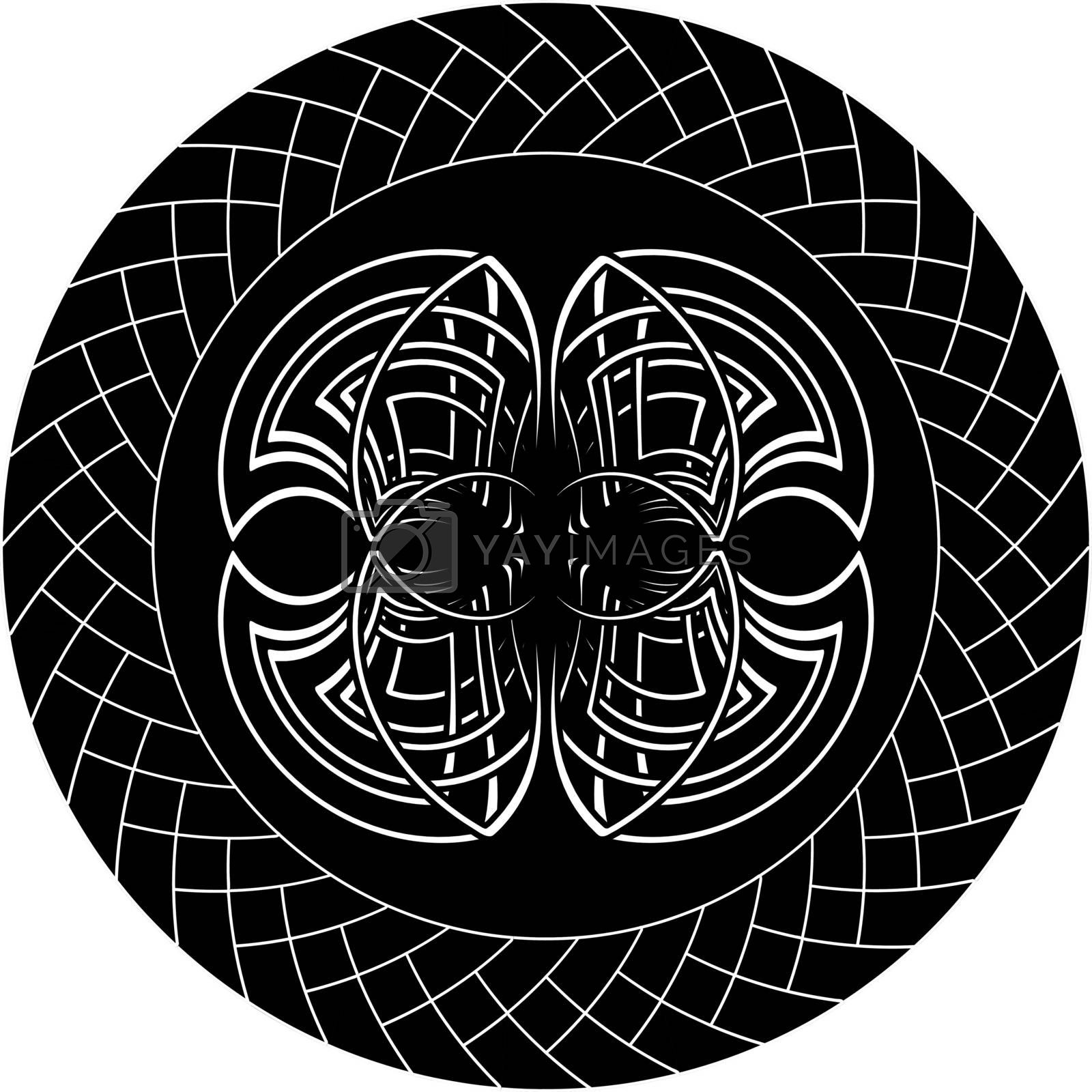 dark gothic illustration with abstract celtic symbol in knotted circle