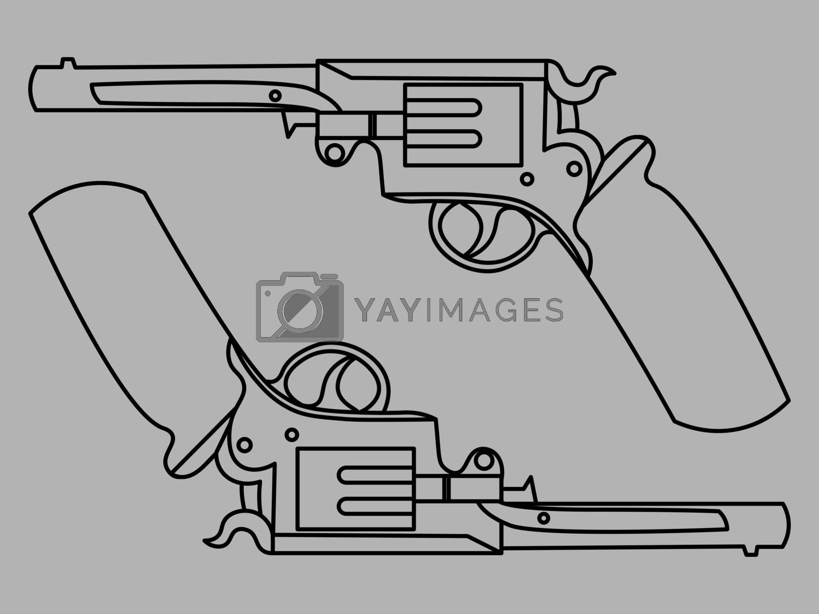minimal line art of two vintage revolvers on grey background