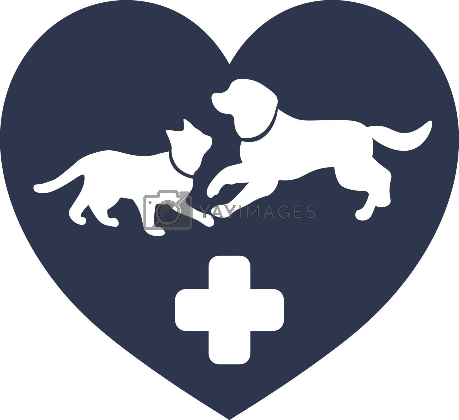 simple cute vet illustration with cat and dog silhouettes and medical cross in the heart
