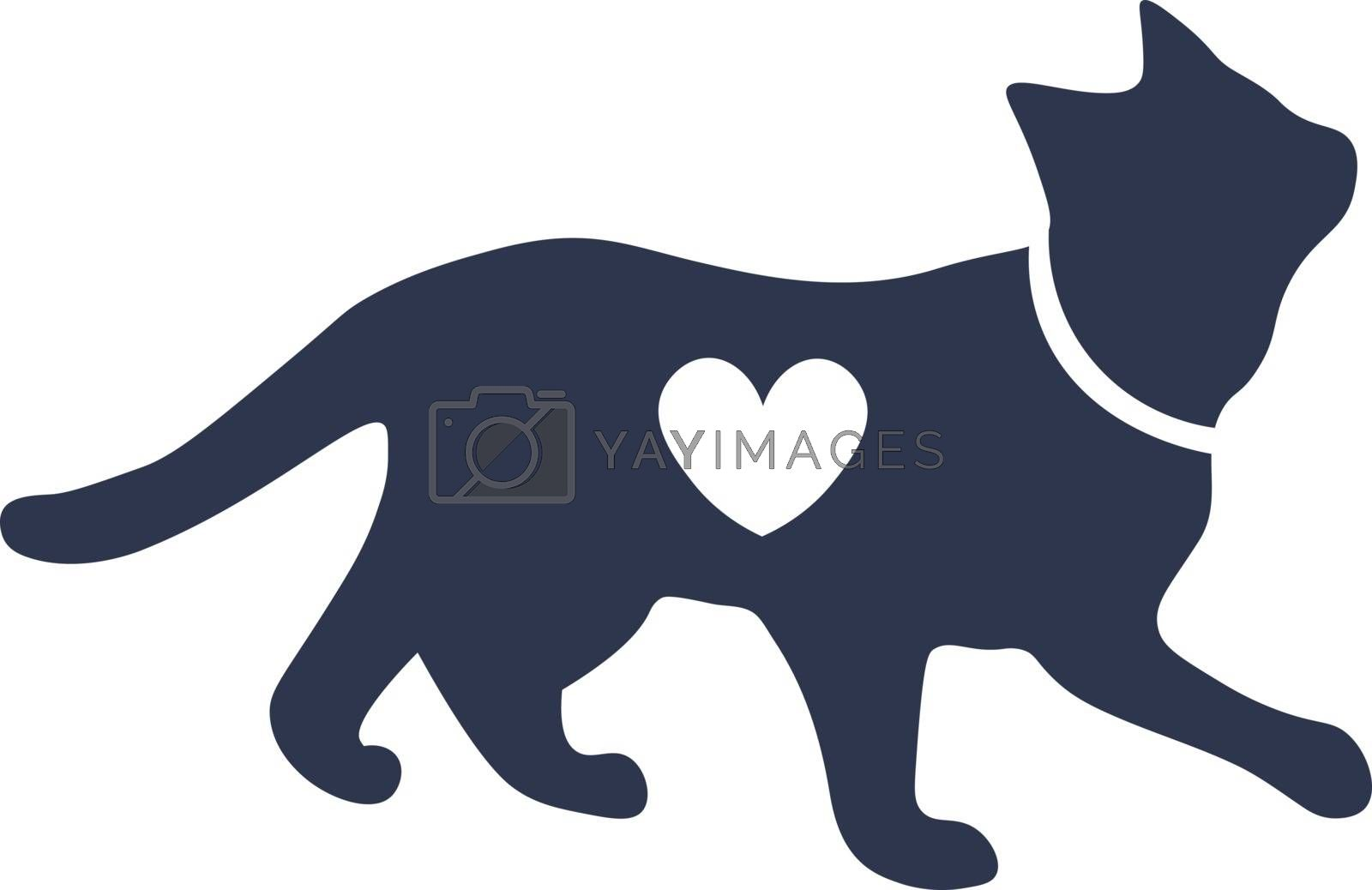 cute illustration of cat sillhouette with heart shape on it