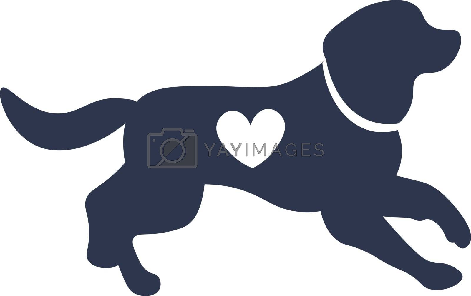 cute illustration of dog silhouette with heart shape on it