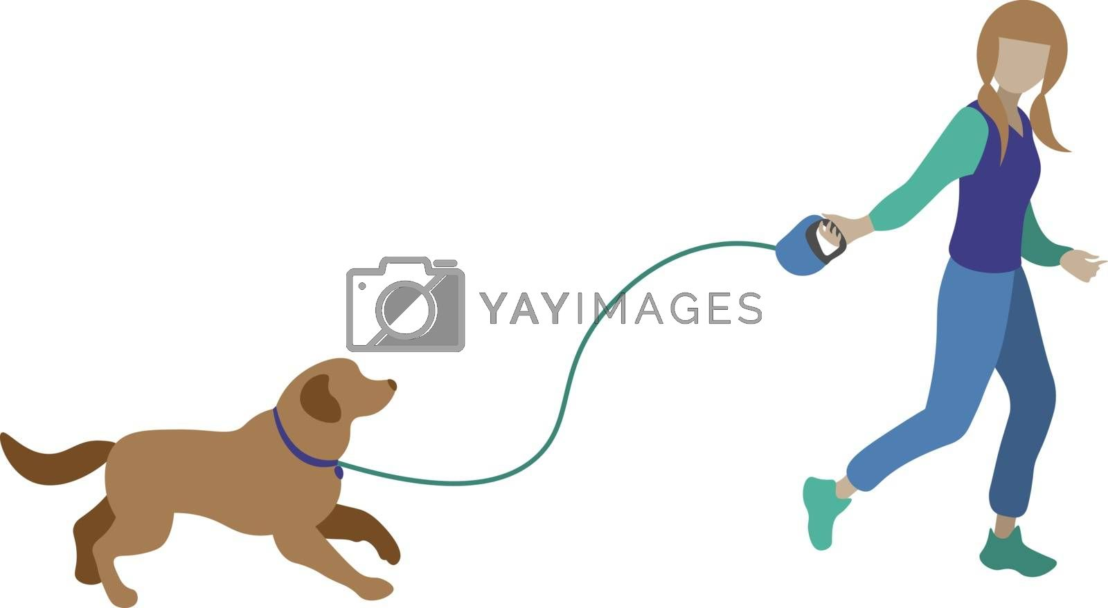 cute simple illustration with walking a dog and jogging faceless girl with ponytails