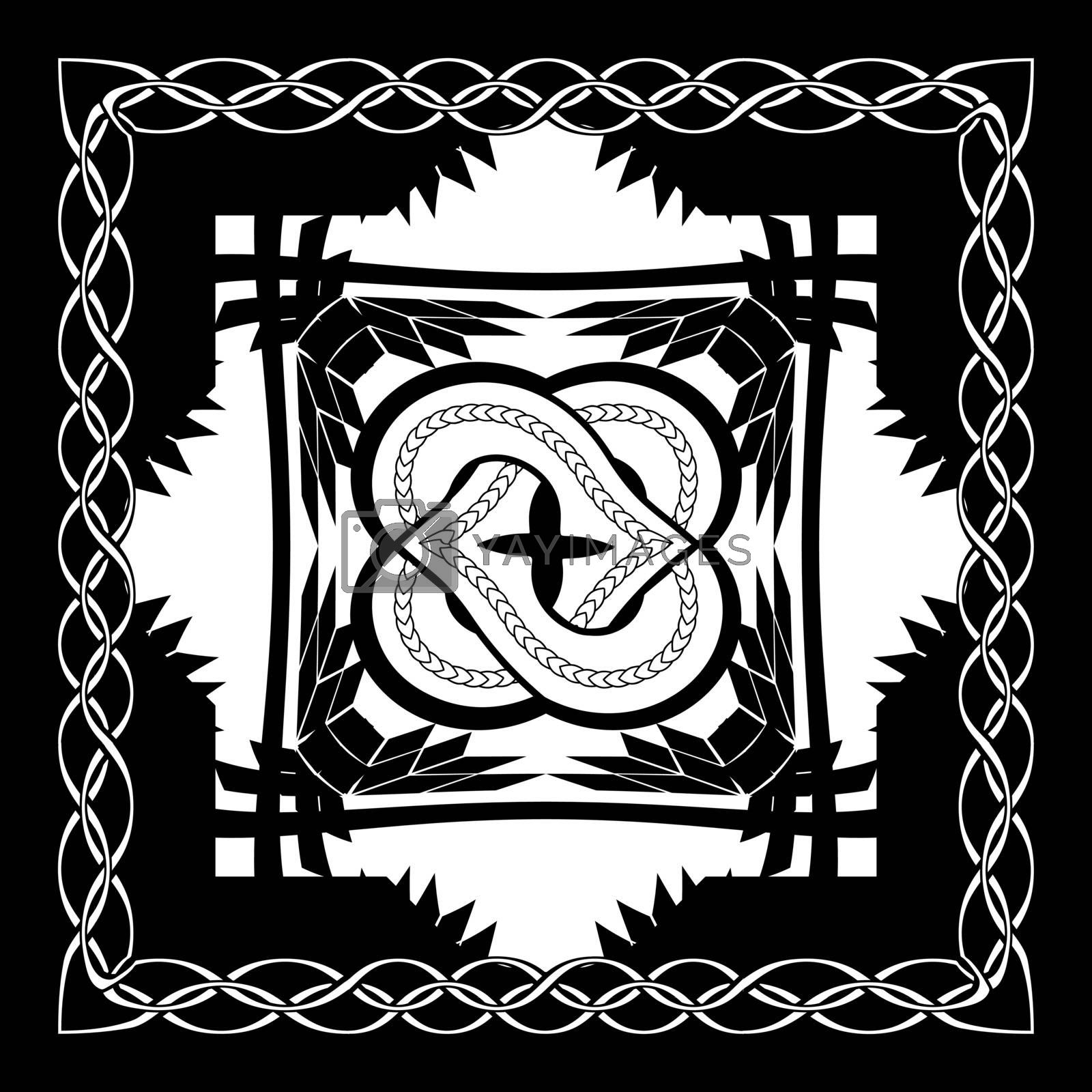 abstract monochrome gothic illustration with knotted flower in the black square framed by chain
